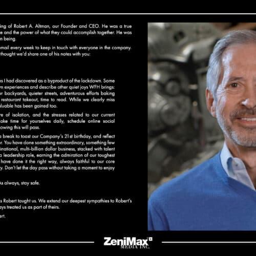 ZeniMax Media's Founder / CEO Robert A. Altman Passes Away At 73