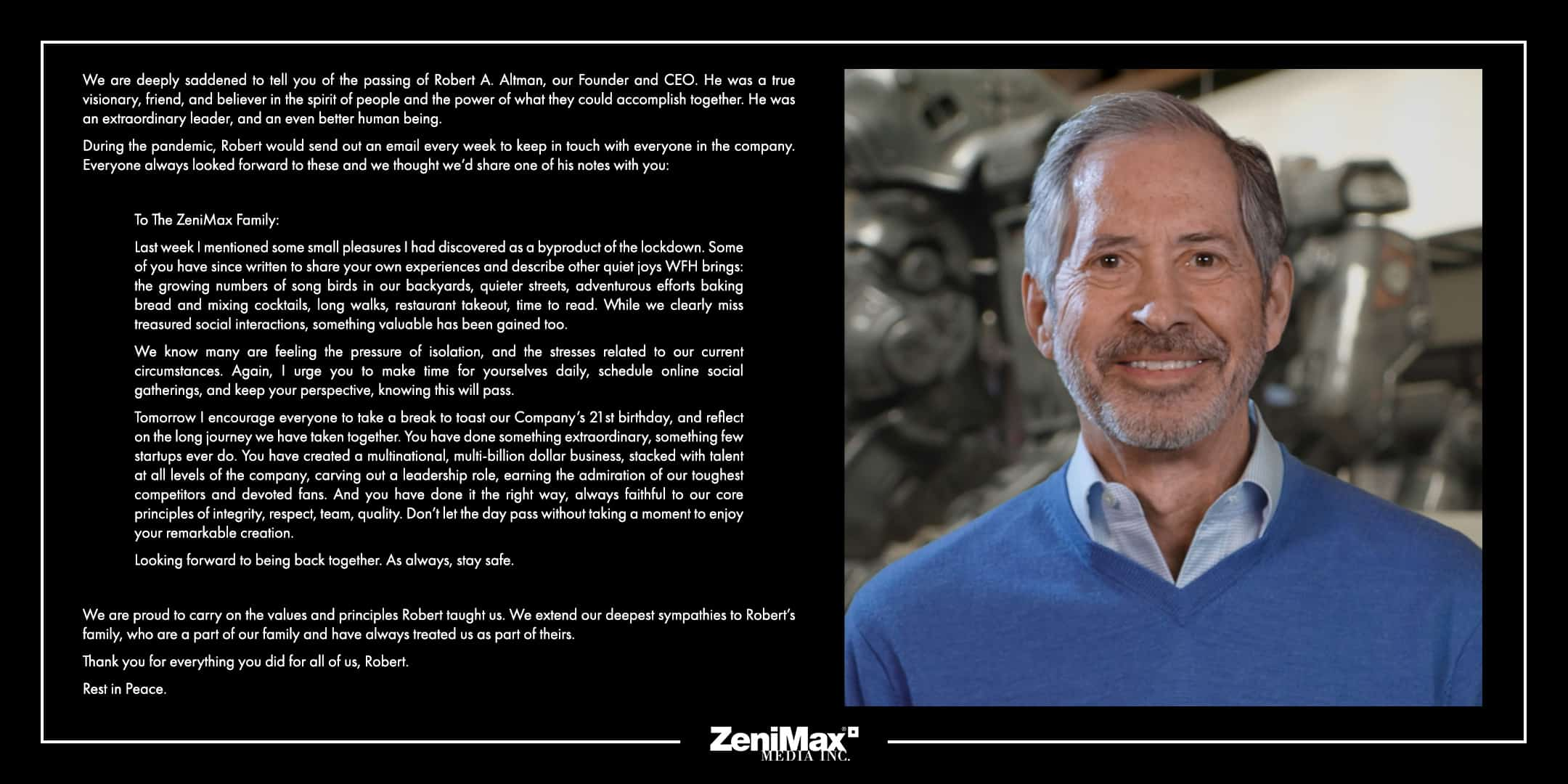 ZeniMax Media's Founder / CEO Robert A. Altman Passes Away At 73 4