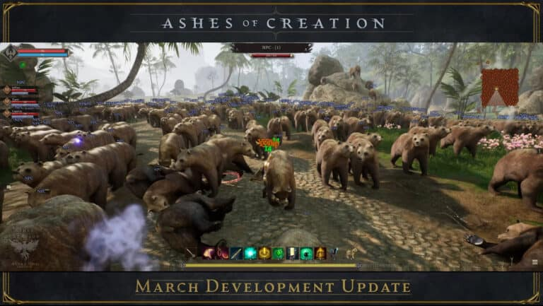 Ashes of Creation Team Fights More Than 1000 Bears In March Update 1