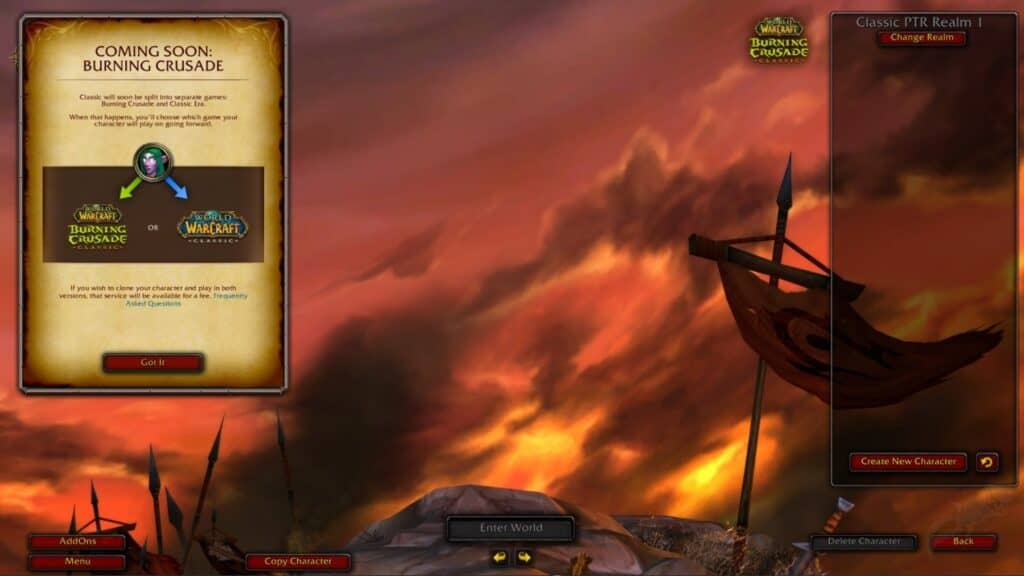 New Burning Crusade PTR Assets Suggest You Can Pay Fee To Have Your Character On Both Classic And TBC Realms 2