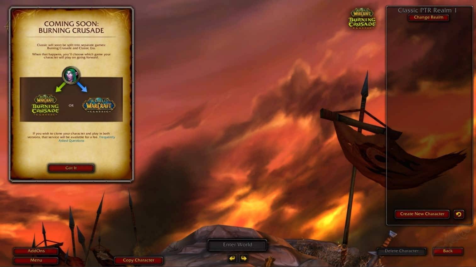 New Burning Crusade PTR Assets Suggest You Can Pay Fee To Have Your Character On Both Classic And TBC Realms 3