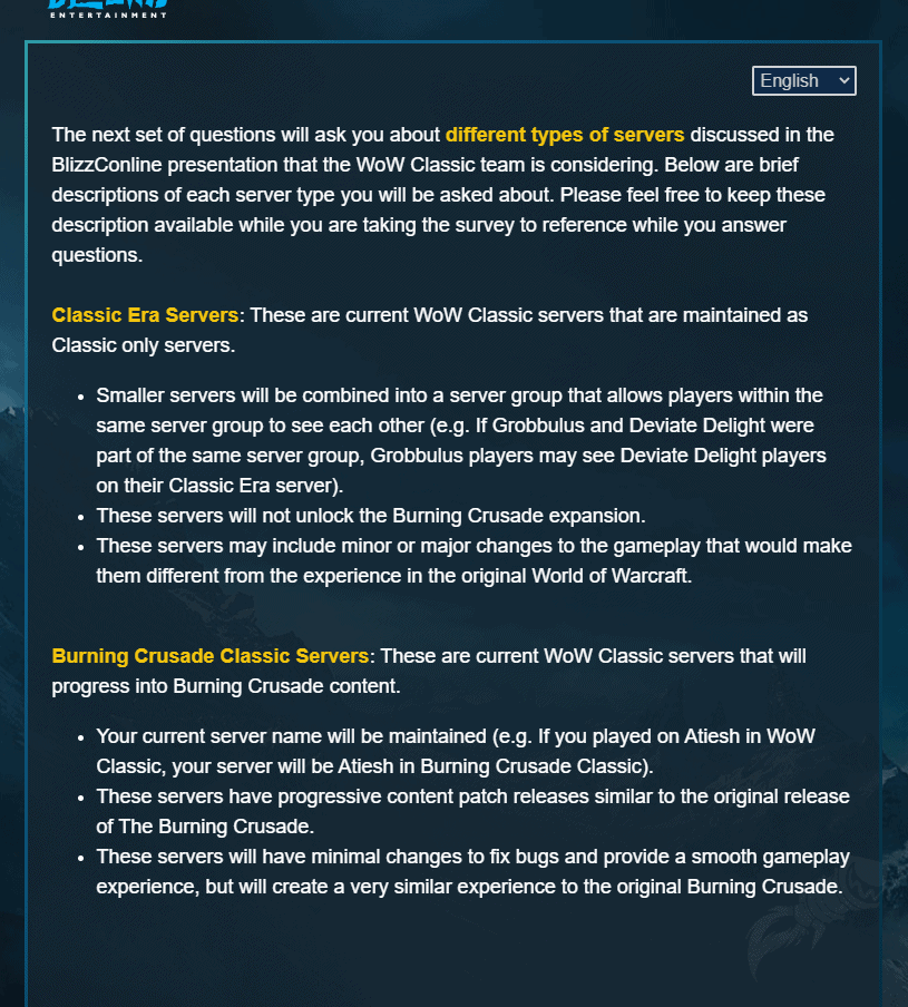 Blizzard Sends Out Survey Related To The Future Of Classic WoW 1