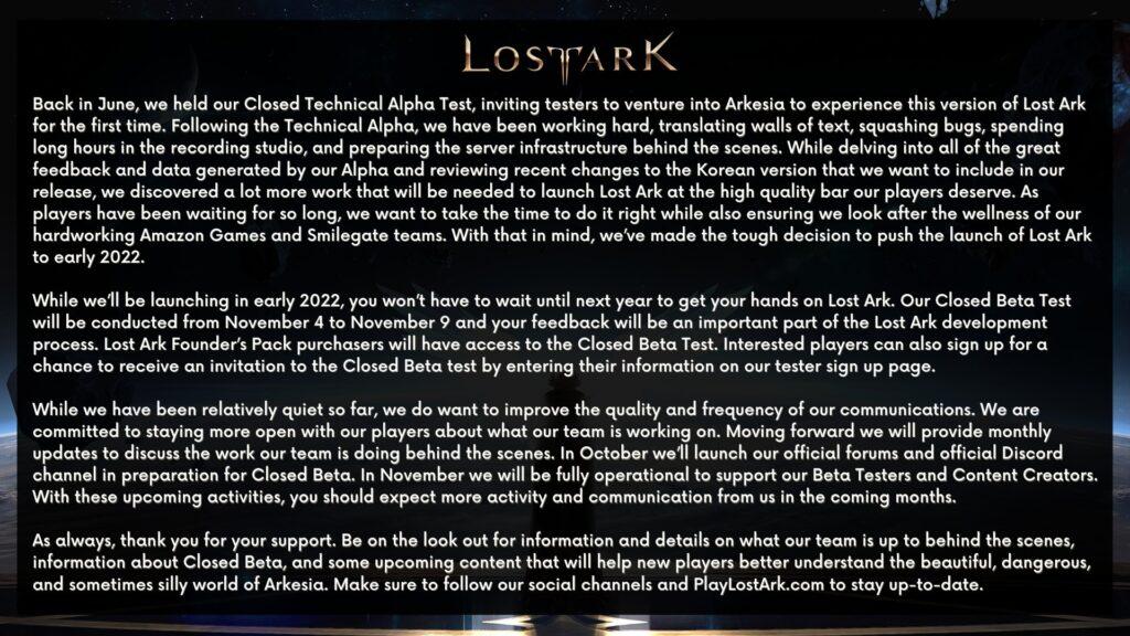 Lost Ark Delayed Until 2022 - Closed Beta In November 1